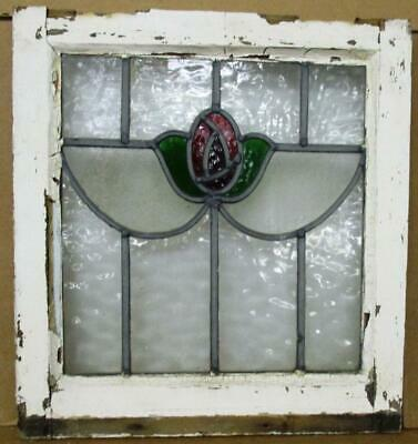 "OLD ENGLISH LEADED STAINED GLASS WINDOW Pretty Rose design 17"" w x 18.25"" h"