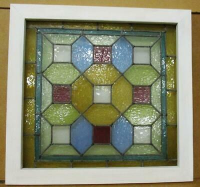 "VICTORIAN ENGLISH LEADED STAINED GLASS WINDOW Geometric Pastels 21.25"" x 22.25"""