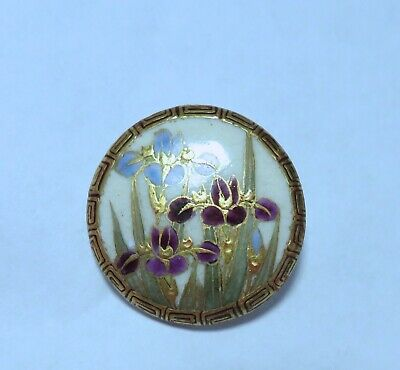 Beautiful Antique Hand Painted Satsuma/Ceramic Button ~Back-Marked~