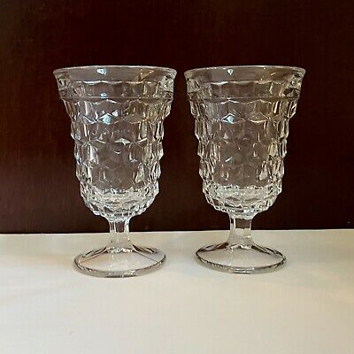 """Vintage Pair Of Fostoria American Crystal 5 1/2"""" Footed Goblets. Mint!"""