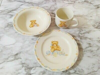 Hallmark Baby Keepsake Teddy Bear Dishes 3 Pc Serving Set Plate Bowl & Cup