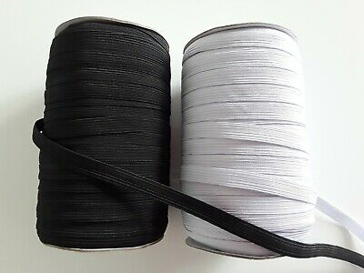 10mm wide 1mm thick Flat Elastic Cord Black White Sewing Trimming Masks