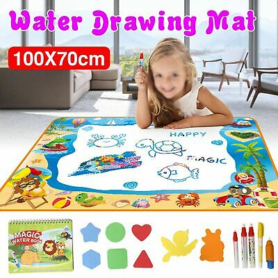 Large Children Magic Aqua Doodle Water Painting Drawing Mat Kids Board Toy + Pen