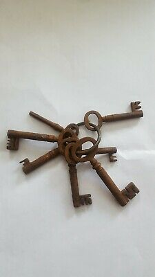 Antique Collectable Set Of Jailer Keys With A Handcuff Key 7 In Total On Ring