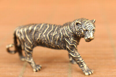 rare chinese old bronze art tiger statue figure collectable good stand
