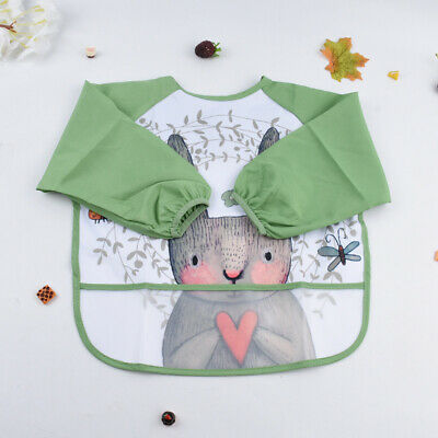 Waterproof Baby Child Feeding Bibs Apron Cloths Long Sleeves with Food Catcher