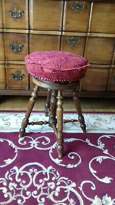 Antique Up And Down Oak Piano Stool