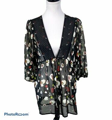 Lola Blouse XL Sheer Black Baby Doll Floral Empire V Neck Pullover 3/4 Sleeves