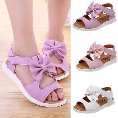Summer Girls Toddler Baby Sandals  Casual Bow knot Flat Princess Shoes Kids UK