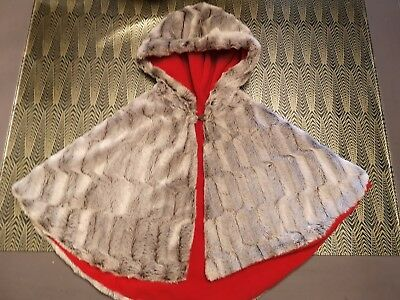 Girls Faux Fur Hooded Cape Age 3 - Grey with Red Fleece Lining - Custom Made