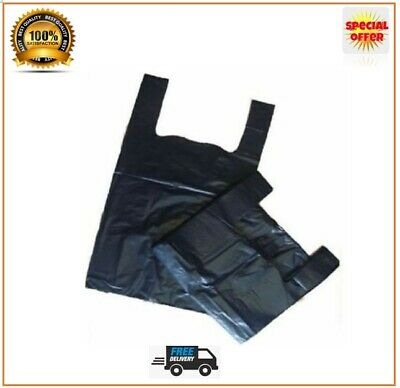 Carrier Bags Black Strong Vest Bags Supermarkets Shops Stalls Small and Large