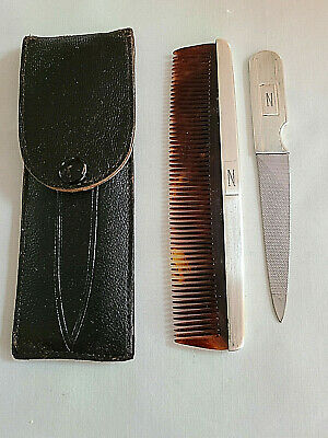 Vintage Purse Sterling Handle Comb & Nail File in Leather Case N Monogram