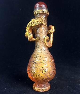 Collectable Gilding Coloured Glaze Hand-Carved Ancient Animal Noble Snuff Bottle