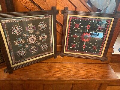 Two Beautiful Antique Folk Art Cloth Tapestry Quilt Patterns In Adirondac Frames