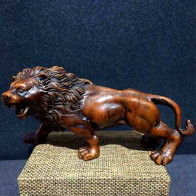 Collectable Chinese Ancient Boxwood Hand-Carved Delicate Lion Auspicious Statue