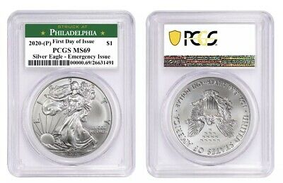 2020 (P) Silver American Eagle PCGS MS69 Struck at Philadelphia First Day Issue