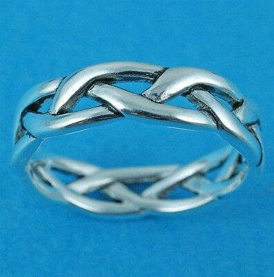 62 sterling silver ring twist ladies mens Celtic thumb finger size T