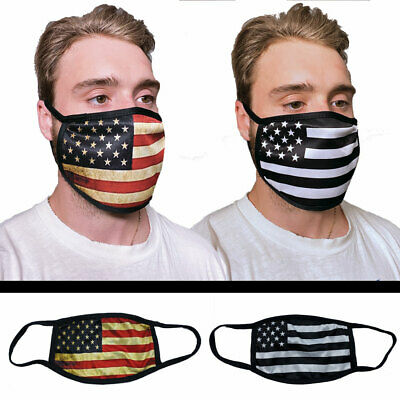 Face Mask Nose Mouth Cover Washable Reusable USA Made Fabric Mask American Flag