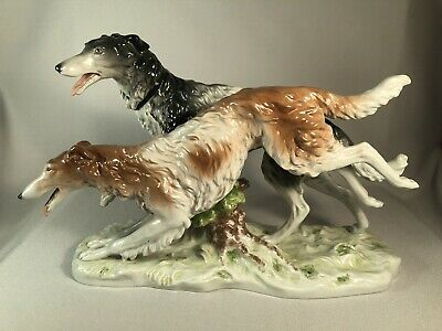 "Scheibe Alsbach Figurine Of 2 Running Borzoi Dogs, 14 1/2"" Long, Outstanding!"