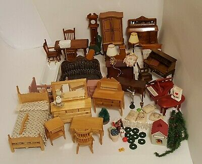 Lot of Vintage Miniature Doll House Furniture and Accessories