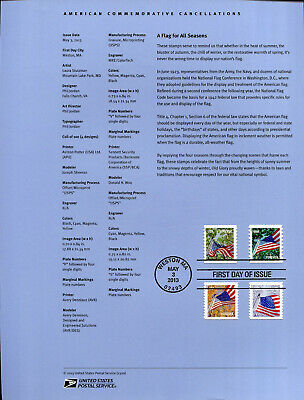 #4770-73 Forever Flag For All Seasons AP Coil Stamps USPS #1320 Souvenir Page