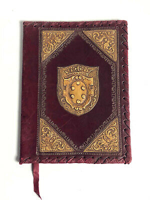 VINTAGE ITALIAN EMBOSSED TOOLED LEATHER BOOK COVER 7x9 EXCELLENT CROWN
