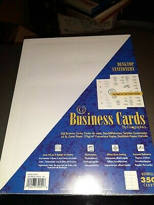 Geographic Business Cards Blank White 350 Cards New Unopened 35 Sheets Printable