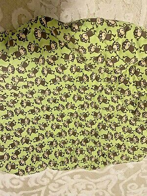 Carter's Quilted Portacrib Changing Table Sheet Green Baby Monkey Portable Crib