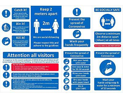 Catch it Bin, 2m social distance, Prevent spread wash hands Sign Laminated A4 A5