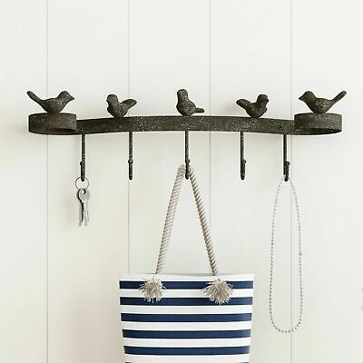 Cast Iron Rustic Birds with 5 Hooks Wall Mounted Home Decor 19 In Wide
