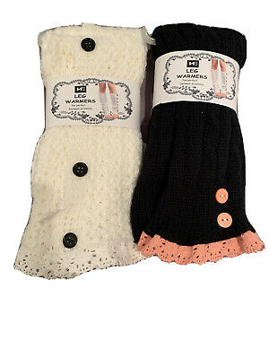 NWT 2  Pairs leg warmers Crochet Lace Trim Cream~ black  ~footwear Accessory