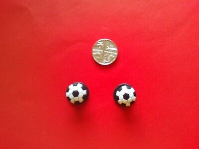 2 Footballs jibbitz crocs shoe charms loom wrist hair bands cake toppers