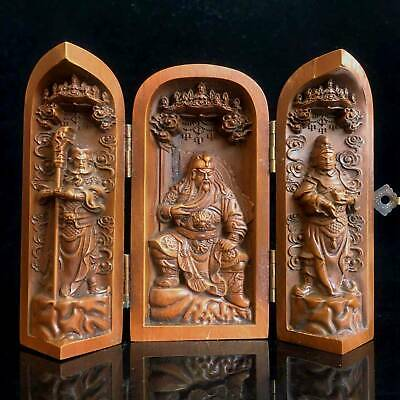 Collectable Old Boxwood Hand-Carved Three Guan Yu Brothers Delicate Noble Statue
