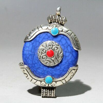 Collectable China Old Miao Silver Armour Agate Hand-Carved Delicate Chic Pendant