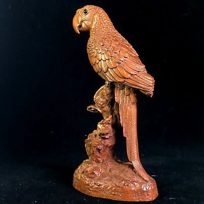 Collectable Chinese Old Boxwood HandWork Carve Parrot Delicate Auspicious Statue
