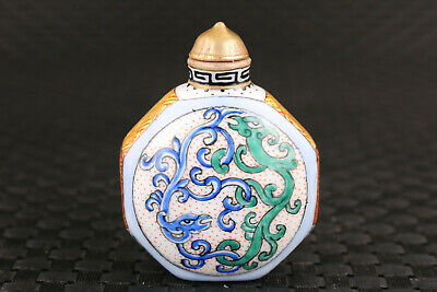 chinese old porcelain hand painting dragon snuff bottle noble gift