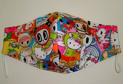 Hello Kitty Handmade Face Mask Adult Size 3-Layers Collab Ramen and Spaghetti