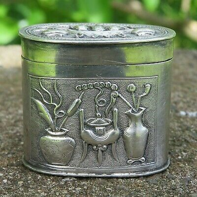 Antique Asian Repousse Sterling Silver small Oval Box far east origin signed