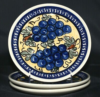 "Polish Pottery Boleslawiec * 3 SALAD PLATES * Tuscan Grapes, 7 3/4"", Excellent"