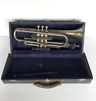 Antique Early Elkhart Trumpet Coronet With Original Case