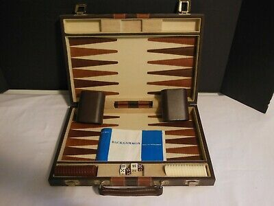 Vintage Backgammon Game in Faux leather case
