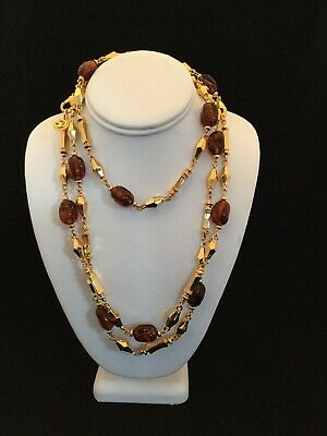 "Vintage ST. JOHN SJ Signed Gold Tone 60"" Long Flapper Necklace Brown And Gold"