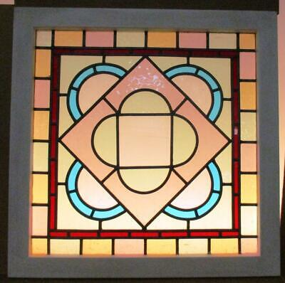 "VICTORIAN ENGLISH LEADED STAINED GLASS WINDOW Pretty Pastels 23"" x 23.5"""