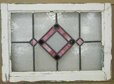 "OLD ENGLISH LEADED STAINED GLASS WINDOW Lovely Pink Diamond 22.75"" x 16.25"""
