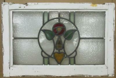 "OLD ENGLISH LEADED STAINED GLASS WINDOW Pretty Rose & Heart 24"" x 15.75"""