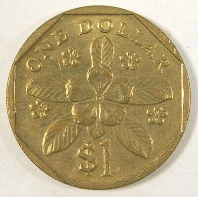 Singapore One 1 Dollar 1997 Periwinkle Flower Coin