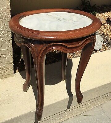 FINE Antq MAHOGANY SMALL MARBLE TOP TABLE / HOLLAND SALLEY INTERIORS NAPLES FL