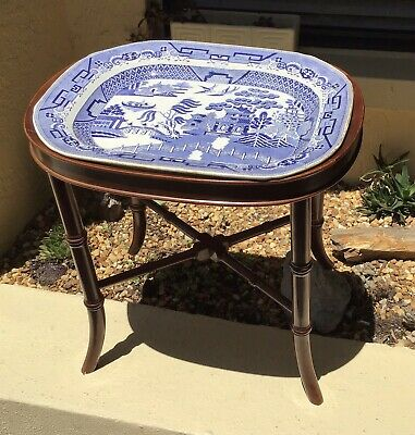RARE VNTG BOMBAY COMPANY FAUX BAMBOO SIDE TABLE for ANTQ BLUE WILLOW TRAY