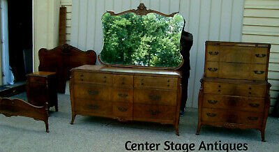 60291 Antique Bedroom  Set Full Bed High Chest Dresser w/ Mirror & Nightstand