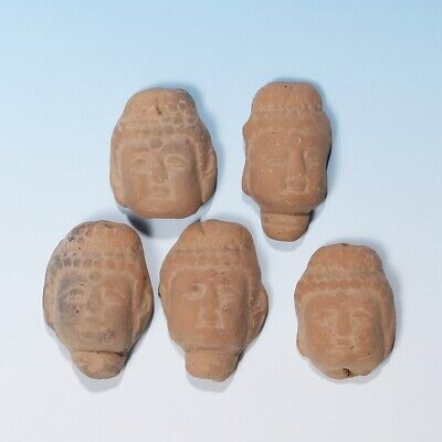 5PCS Chinese Old Ritual Pottery Collectible Buddha Head Statue Mud Sculptures